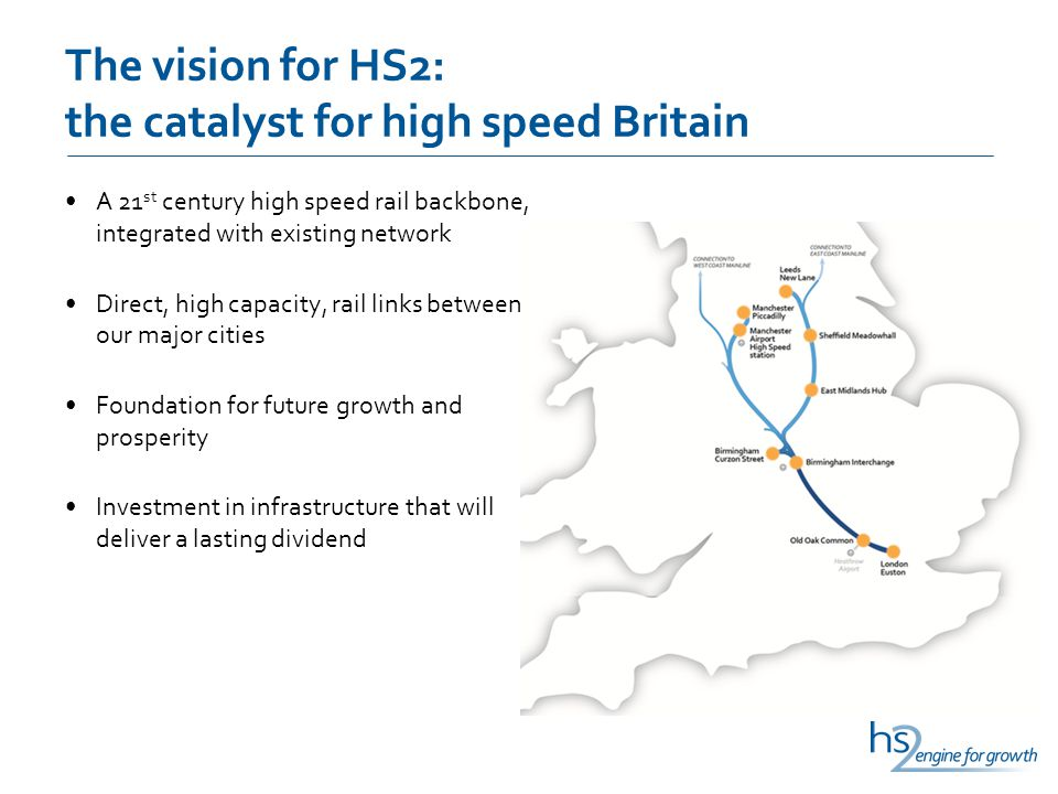 The vision for HS2: the catalyst for high speed Britain A 21 st century high speed rail backbone, integrated with existing network Direct, high capacity, rail links between our major cities Foundation for future growth and prosperity Investment in infrastructure that will deliver a lasting dividend