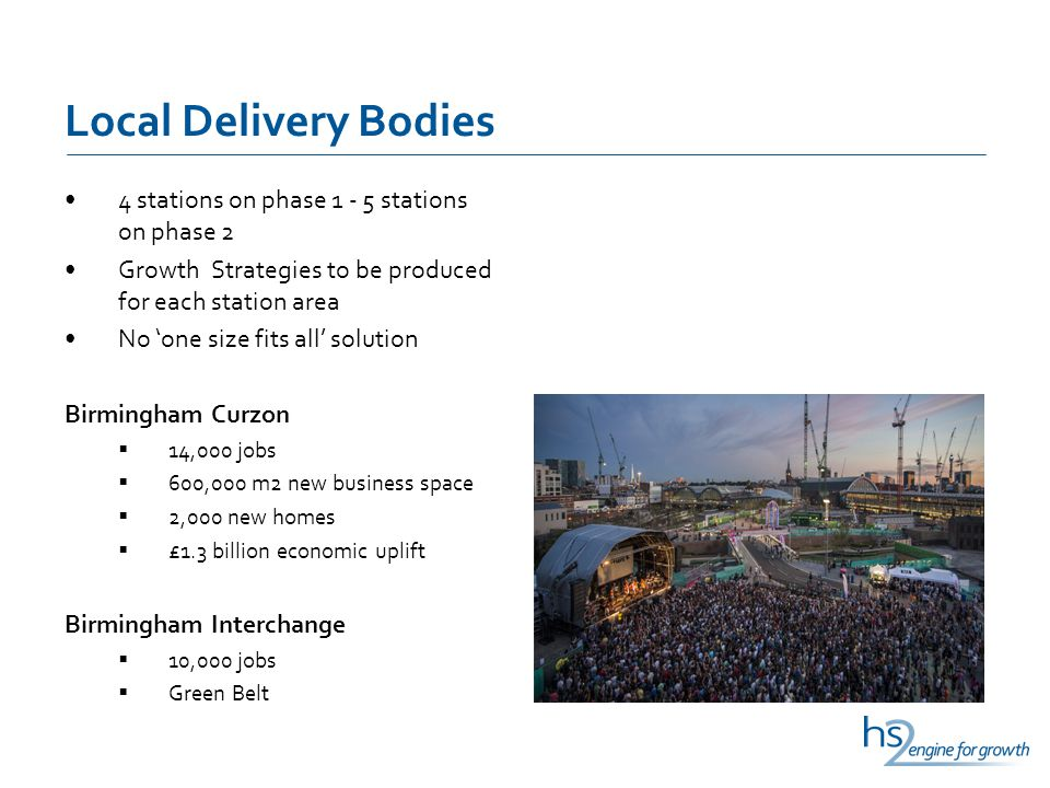 Local Delivery Bodies 4 stations on phase 1 - 5 stations on phase 2 Growth Strategies to be produced for each station area No 'one size fits all' solution Birmingham Curzon  14,000 jobs  600,000 m2 new business space  2,000 new homes  £1.3 billion economic uplift Birmingham Interchange  10,000 jobs  Green Belt