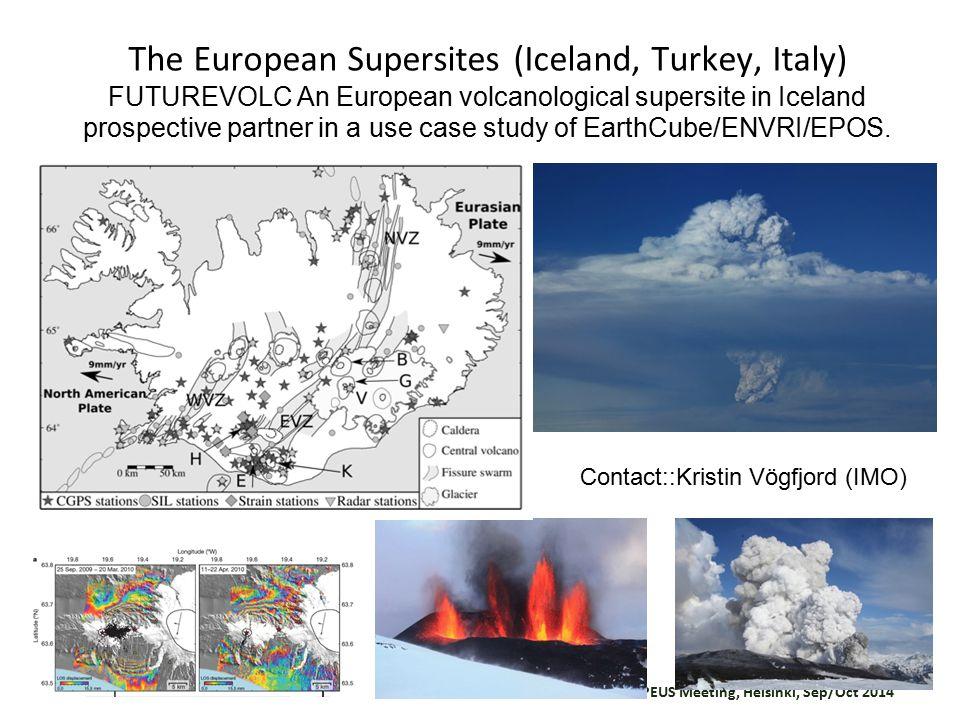 COOPEUS Meeting, Helsinki, Sep/Oct 2014 The European Supersites (Iceland, Turkey, Italy) FUTUREVOLC An European volcanological supersite in Iceland prospective partner in a use case study of EarthCube/ENVRI/EPOS.