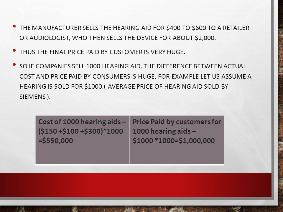 THE MANUFACTURER SELLS THE HEARING AID FOR $400 TO $600 TO A RETAILER OR AUDIOLOGIST, WHO THEN SELLS THE DEVICE FOR ABOUT $2,000.