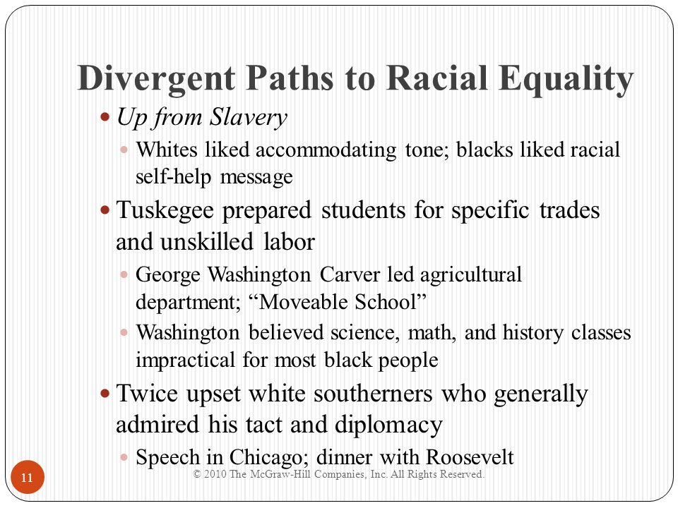 Divergent Paths to Racial Equality Believed demand for equality was a matter of timing Quietly financed early segregation court cases Advocated for entrance of blacks into professions Opposition: T.