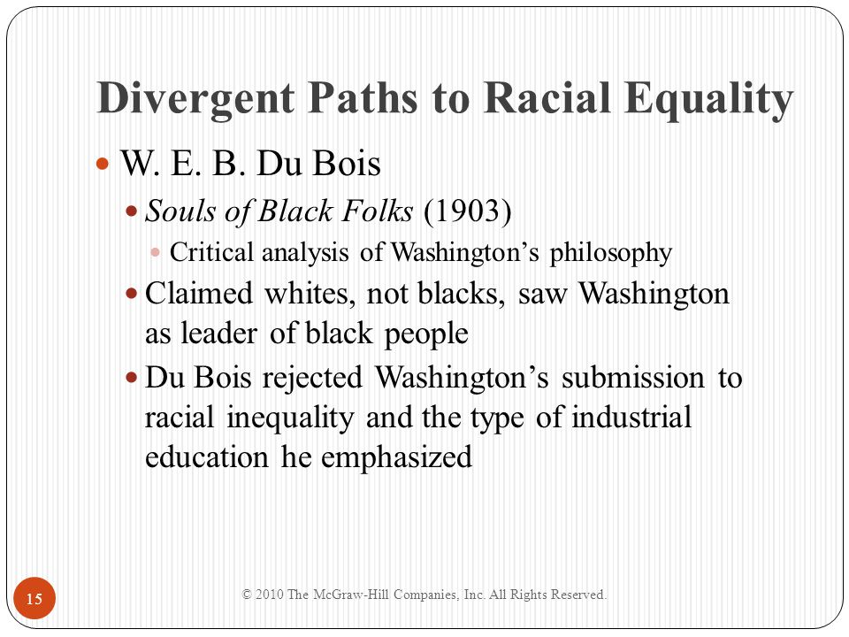 Divergent Paths to Racial Equality Washington's Revenge Detractors believed that Washington's refusal to condemn segregation, lynching, and disfranchisement won the Tuskegee Institute white financial backing Network of powerful friends allowed Washington to reward friends and punish enemies The Niagara Movement Protest organization formed in response to Washington's pervasive influence © 2010 The McGraw-Hill Companies, Inc.