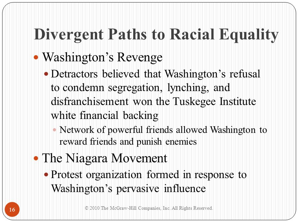 Divergent Paths to Racial Equality Met in Niagara in 1905 and drafted the Declaration of Principles – a list of grievances and demands 55 members, including Du Bois and Trotter Group members published protest writings against white supremacy and sought to build its ranks from the Talented Tenth Washington threatened by movement; wrote white newspapers asking them to ignore it © 2010 The McGraw-Hill Companies, Inc.