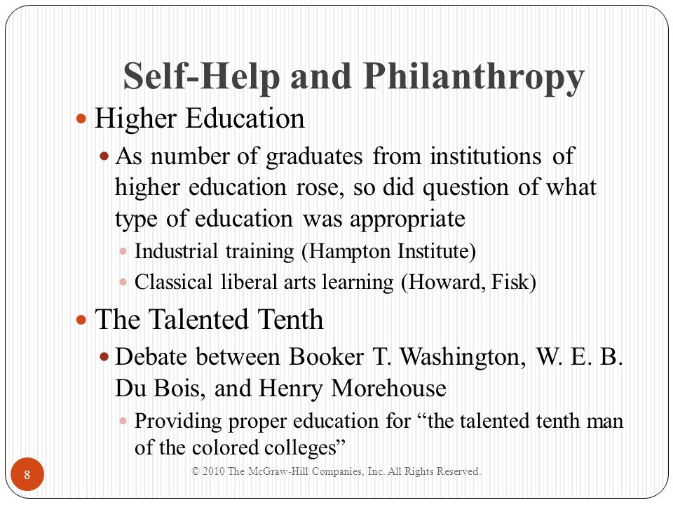 Self-Help and Philanthropy Higher Education As number of graduates from institutions of higher education rose, so did question of what type of educati