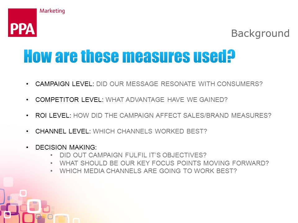 Background CAMPAIGN LEVEL: DID OUR MESSAGE RESONATE WITH CONSUMERS.