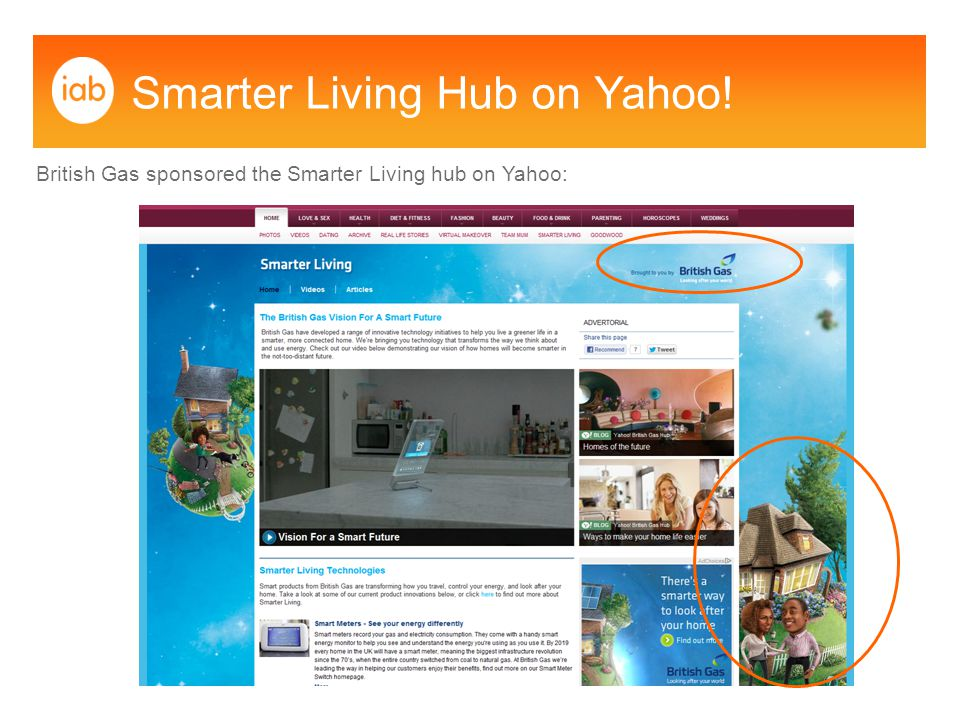 Smarter Living Hub on Yahoo! British Gas sponsored the Smarter Living hub on Yahoo: