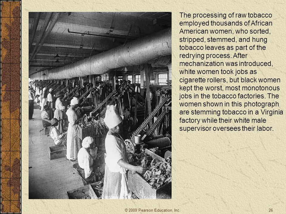The processing of raw tobacco employed thousands of African American women, who sorted, stripped, stemmed, and hung tobacco leaves as part of the redr