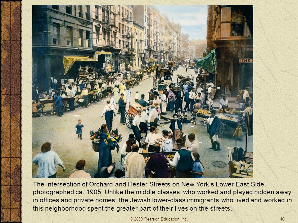 The intersection of Orchard and Hester Streets on New York's Lower East Side, photographed ca. 1905. Unlike the middle classes, who worked and played