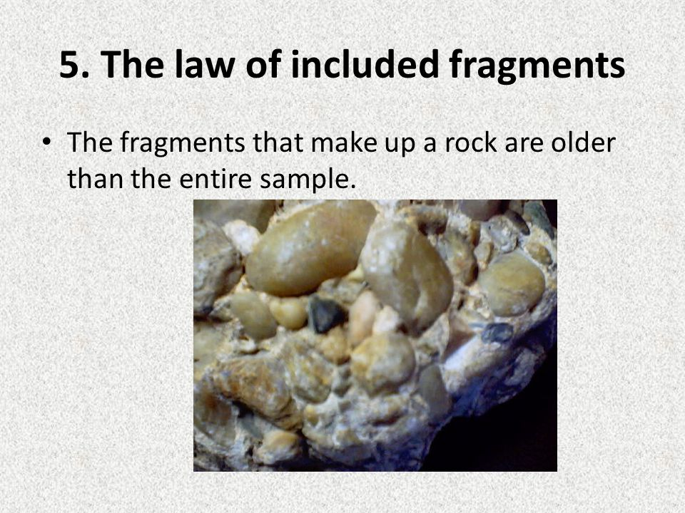 5. The law of included fragments The fragments that make up a rock are older than the entire sample.