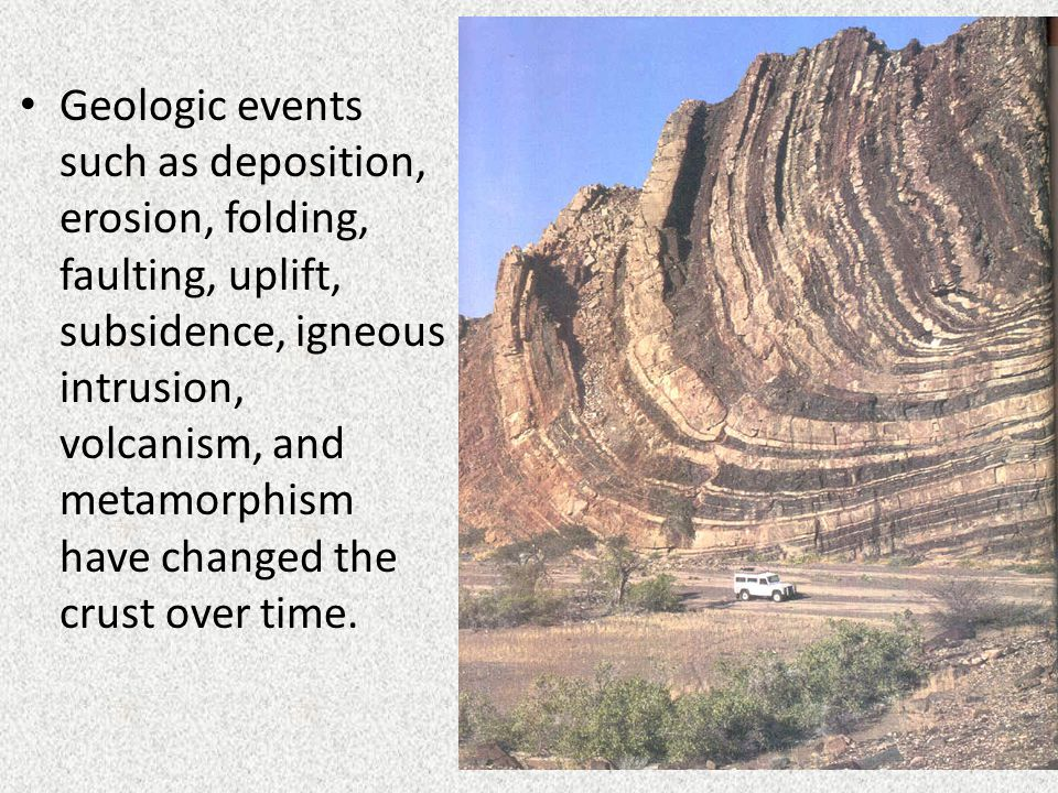 Geologic events such as deposition, erosion, folding, faulting, uplift, subsidence, igneous intrusion, volcanism, and metamorphism have changed the cr