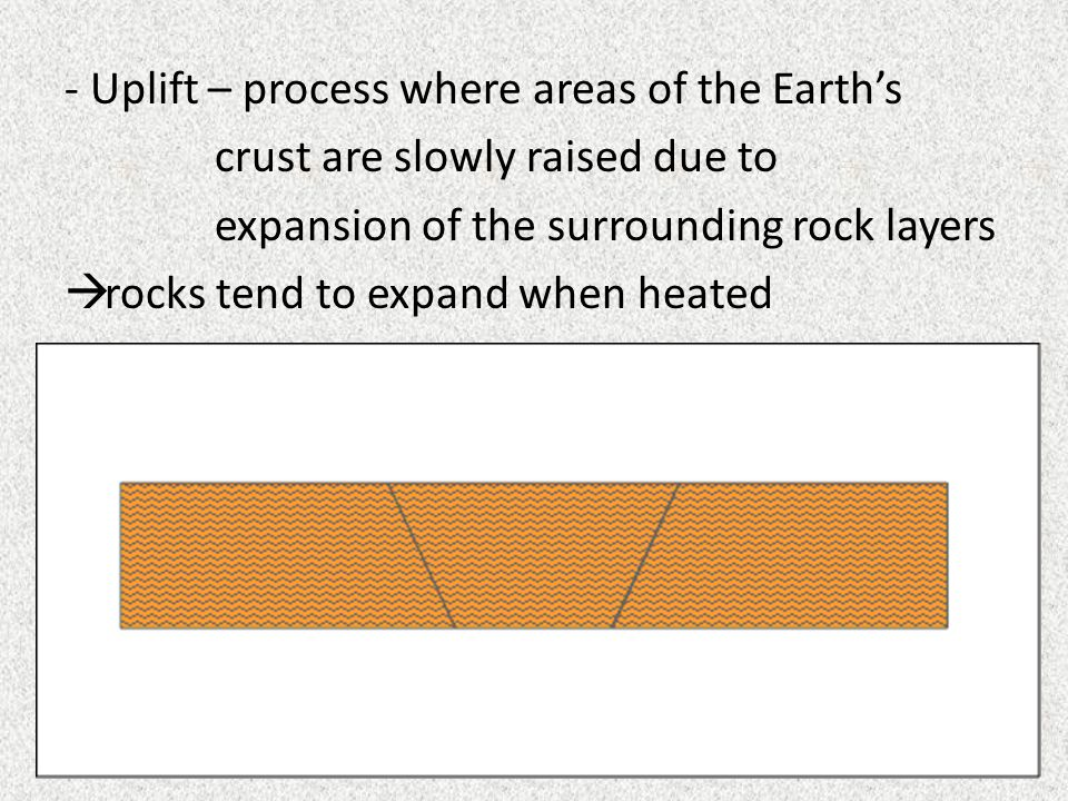 - Uplift – process where areas of the Earth's crust are slowly raised due to expansion of the surrounding rock layers  rocks tend to expand when heat