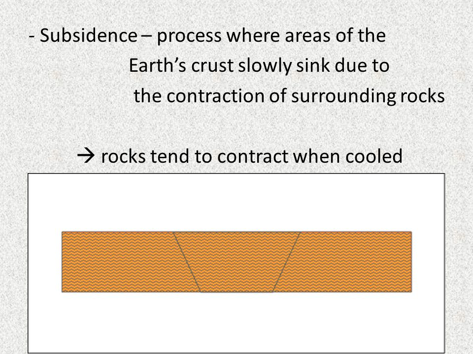 - Subsidence – process where areas of the Earth's crust slowly sink due to the contraction of surrounding rocks  rocks tend to contract when cooled