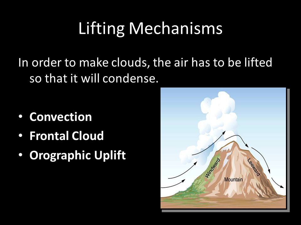 Lifting Mechanisms In order to make clouds, the air has to be lifted so that it will condense.