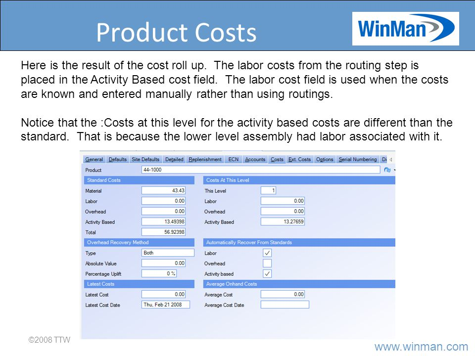 www.winman.com Product Costs ©2008 TTW Here is the result of the cost roll up.