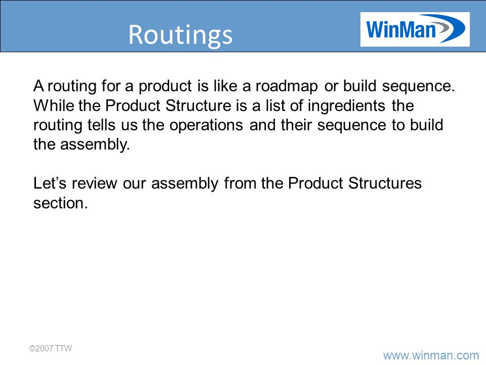 www.winman.com Routings Entry ©2008 TTW Routing entry is identical to entering a product structure.