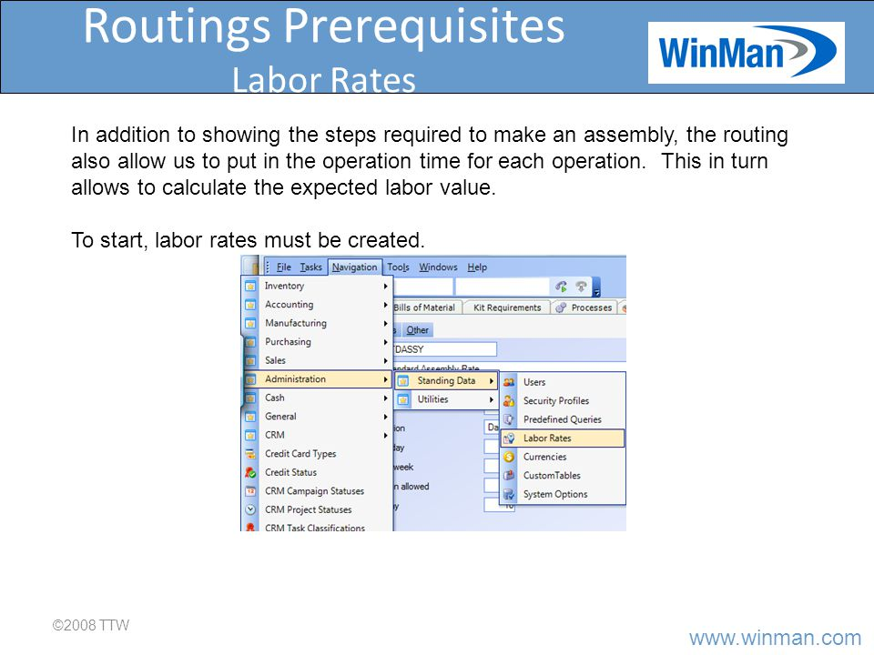 www.winman.com Routings Prerequisites Labor Rates ©2008 TTW The Amount of Pay is based on the unit in the next column, in this case 20.00 per hour.