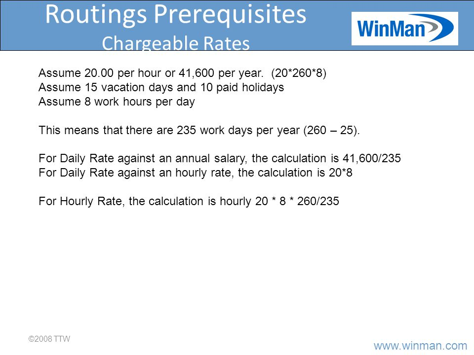 www.winman.com Routings Prerequisites Activity Centers ©2008 TTW Activity centers are where work is done.