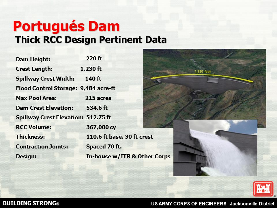 BUILDING STRONG ® US ARMY CORPS OF ENGINEERS   Jacksonville District Portugués Dam Construction Activities Construction Activities Quarry Excavation Approx.