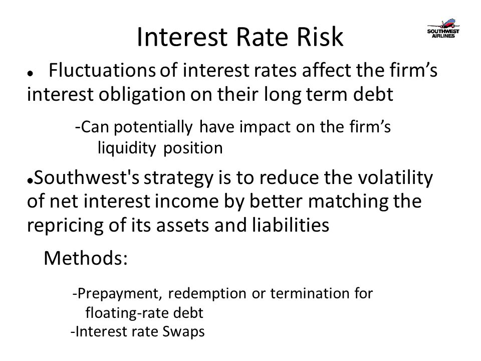 Interest Rate Risk Fluctuations of interest rates affect the firm's interest obligation on their long term debt - Can potentially have impact on the firm's liquidity position Southwest s strategy is to reduce the volatility of net interest income by better matching the repricing of its assets and liabilities Methods: -Prepayment, redemption or termination for floating-rate debt -Interest rate Swaps