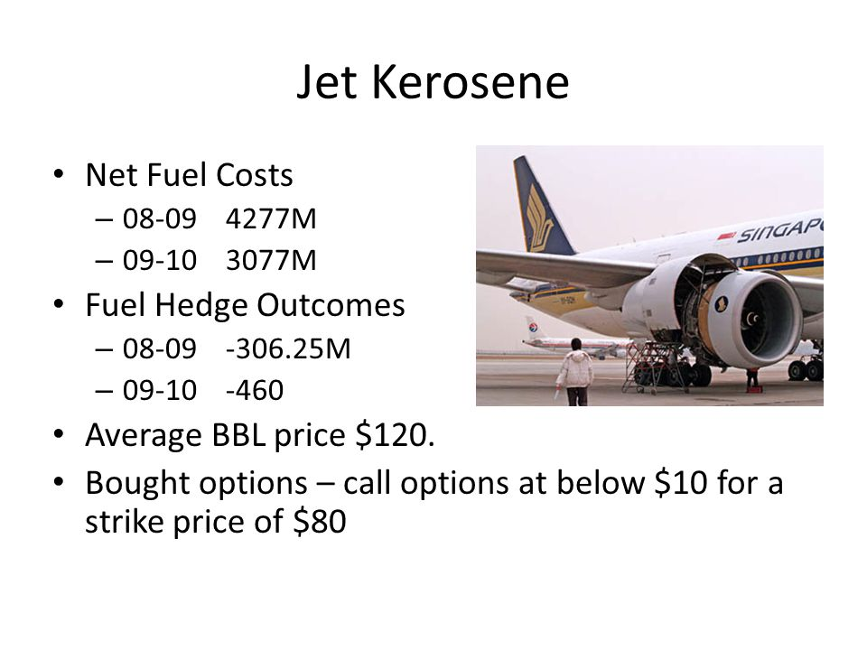 Jet Kerosene Net Fuel Costs – 08-094277M – 09-103077M Fuel Hedge Outcomes – 08-09-306.25M – 09-10-460 Average BBL price $120.