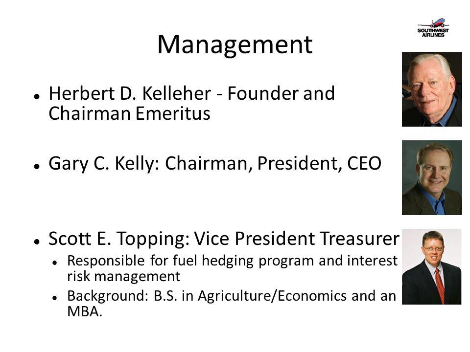 Management Herbert D. Kelleher - Founder and Chairman Emeritus Gary C. Kelly: Chairman, President, CEO Scott E. Topping: Vice President Treasurer Resp