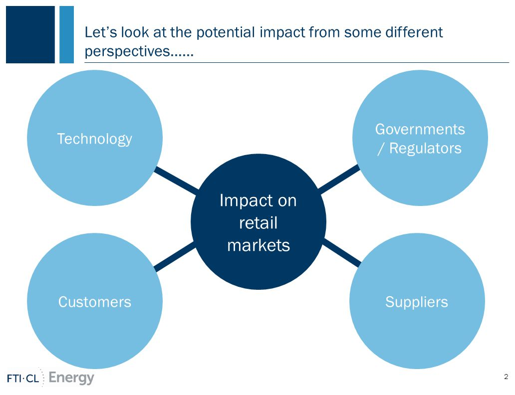 Let's look at the potential impact from some different perspectives…… 2 Impact on retail markets Governments / Regulators Customers Technology Suppliers