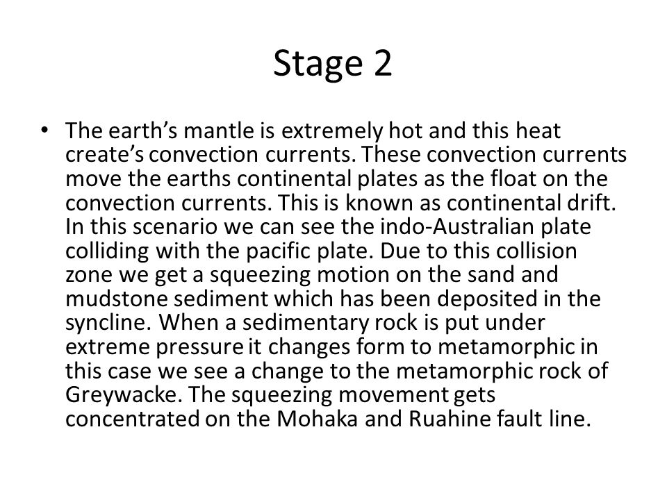 Stage 2 The earth's mantle is extremely hot and this heat create's convection currents.