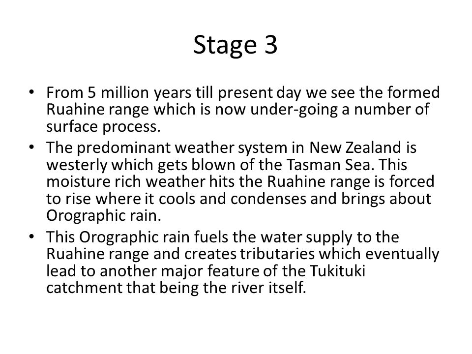 Stage 3 From 5 million years till present day we see the formed Ruahine range which is now under-going a number of surface process.