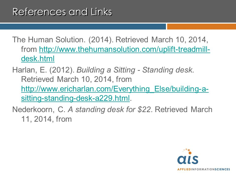 References and Links The Human Solution. (2014).