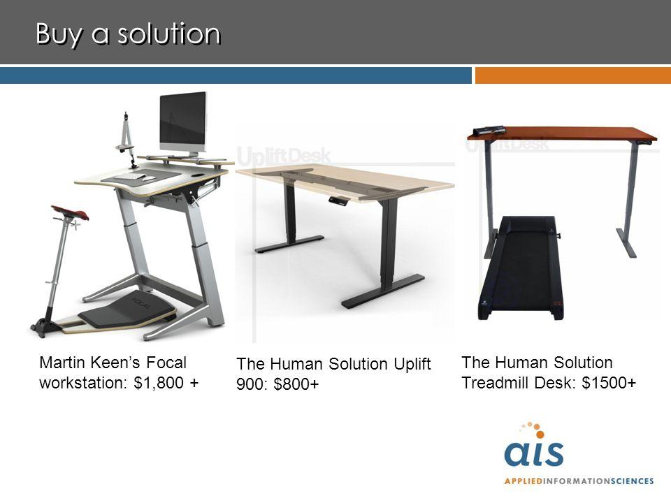 Buy a solution Martin Keen's Focal workstation: $1,800 + The Human Solution Uplift 900: $800+ The Human Solution Treadmill Desk: $1500+