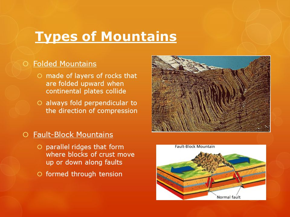 Types of Mountains  Folded Mountains  made of layers of rocks that are folded upward when continental plates collide  always fold perpendicular to the direction of compression  Fault-Block Mountains  parallel ridges that form where blocks of crust move up or down along faults  formed through tension