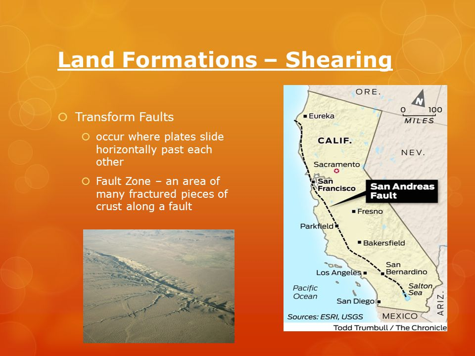 Land Formations – Shearing  Transform Faults  occur where plates slide horizontally past each other  Fault Zone – an area of many fractured pieces of crust along a fault