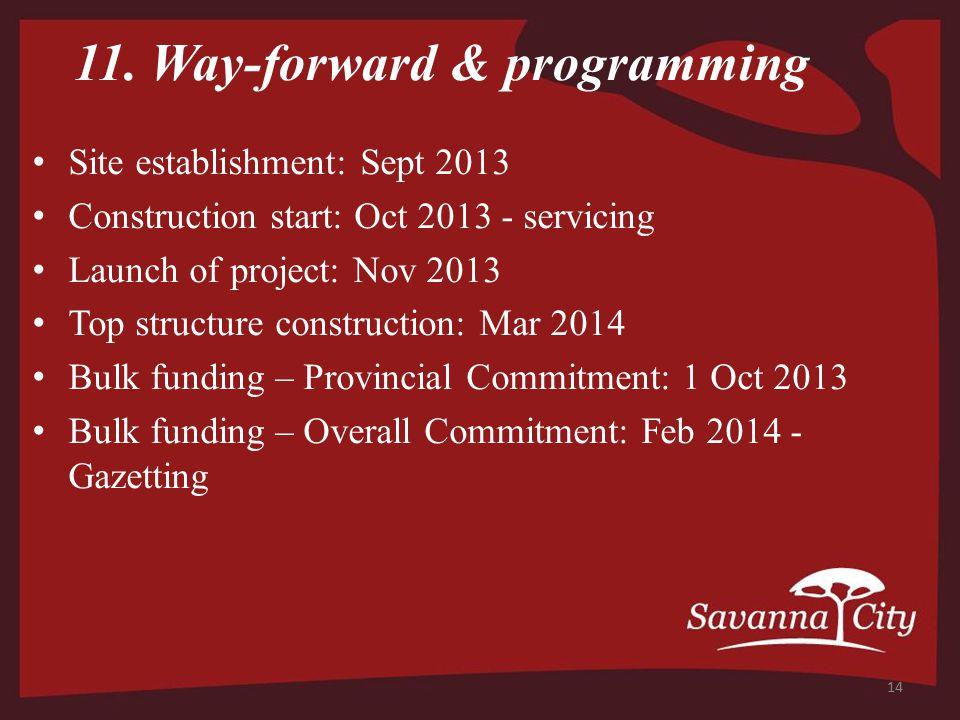 11. Way-forward & programming Site establishment: Sept 2013 Construction start: Oct 2013 - servicing Launch of project: Nov 2013 Top structure constru