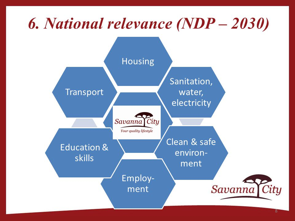 6. National relevance (NDP – 2030) Housing Sanitation, water, electricity Clean & safe environ- ment Employ- ment Education & skills Transport 8
