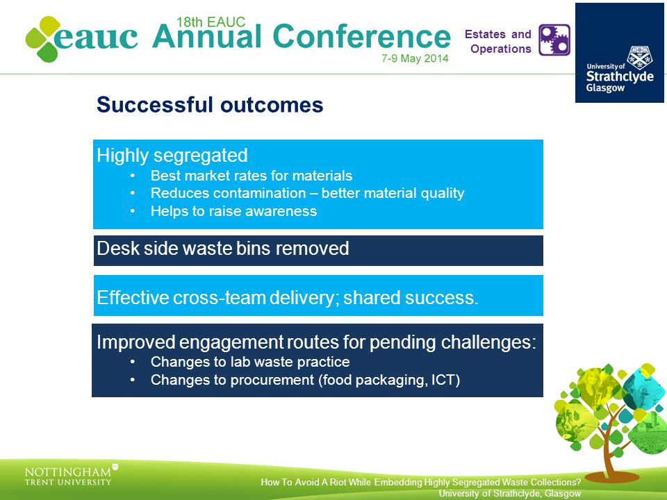 Successful outcomes Highly segregated Best market rates for materials Reduces contamination – better material quality Helps to raise awareness Desk side waste bins removed Effective cross-team delivery; shared success.