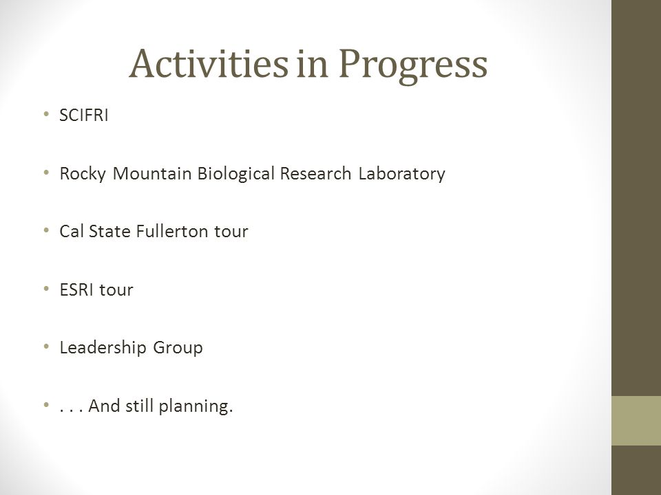 Activities in Progress SCIFRI Rocky Mountain Biological Research Laboratory Cal State Fullerton tour ESRI tour Leadership Group...