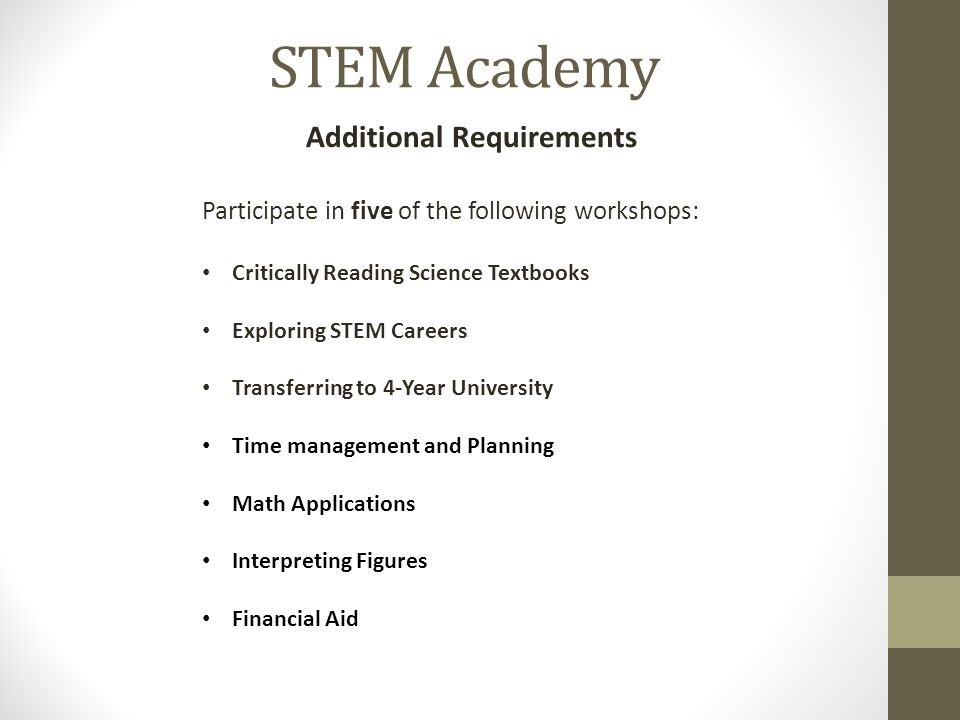 Additional Requirements Participate in five of the following workshops: Critically Reading Science Textbooks Exploring STEM Careers Transferring to 4-Year University Time management and Planning Math Applications Interpreting Figures Financial Aid STEM Academy