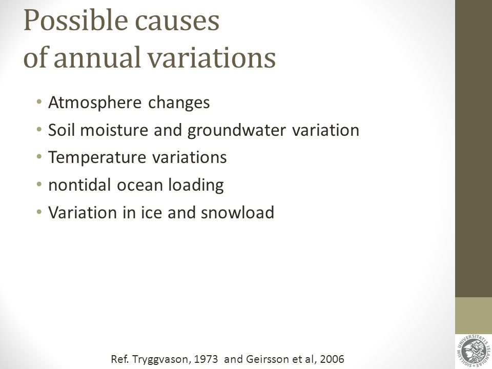Possible causes of annual variations Atmosphere changes Soil moisture and groundwater variation Temperature variations nontidal ocean loading Variatio