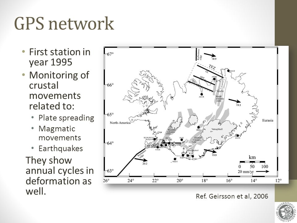 GPS network First station in year 1995 Monitoring of crustal movements related to: Plate spreading Magmatic movements Earthquakes They show annual cyc