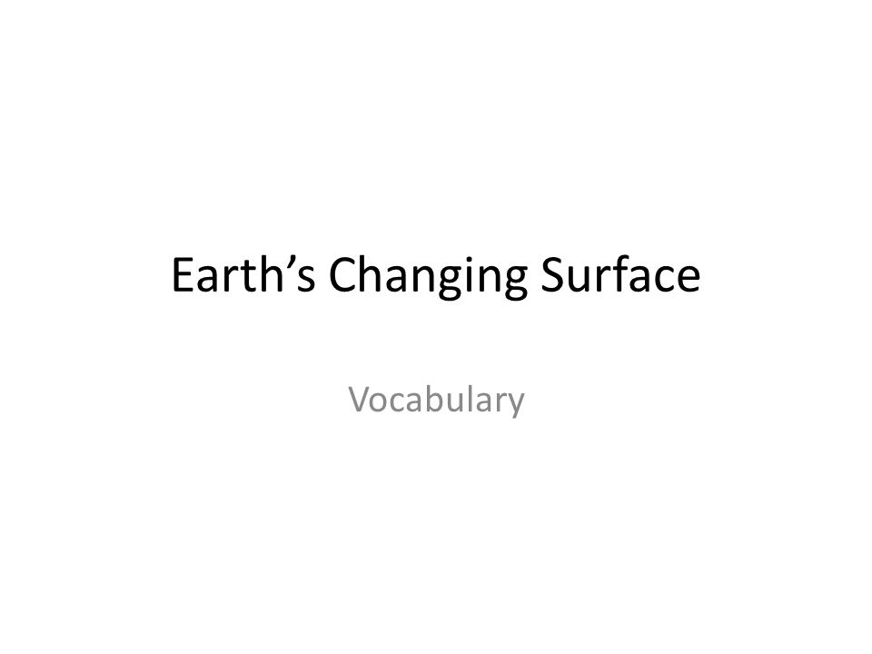 Earth's Changing Surface Vocabulary