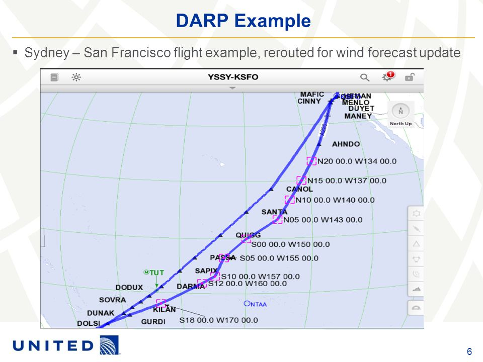 DARP Example 6  Sydney – San Francisco flight example, rerouted for wind forecast update