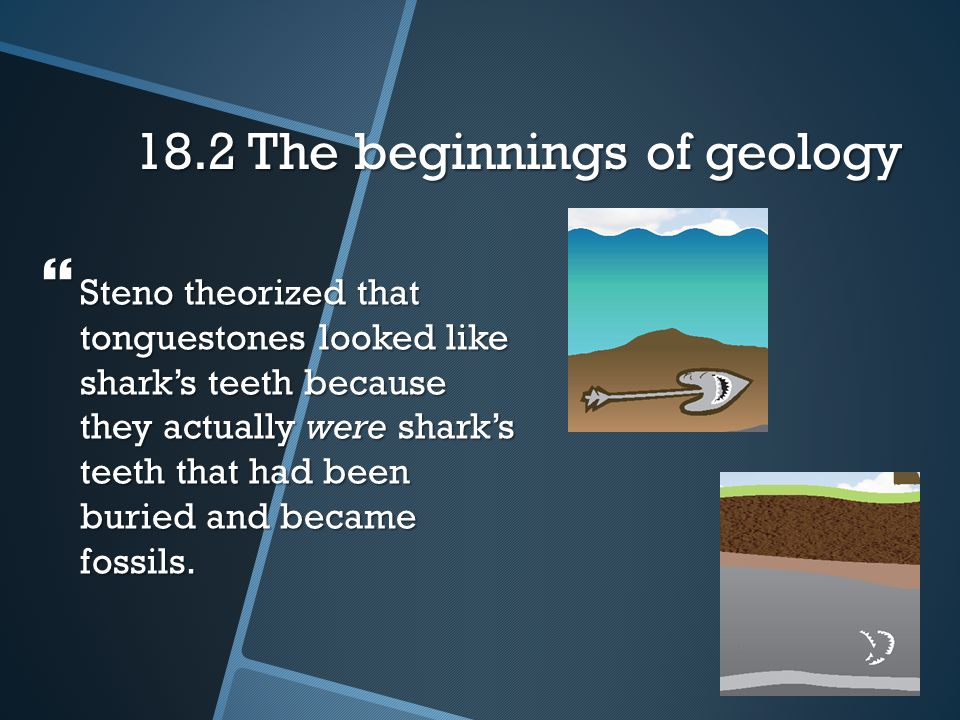 18.2 The beginnings of geology  In 1666, Nicholas Steno, a Danish anatomist, studied a shark's head and noticed that the shark's teeth resembled myst