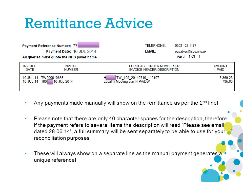 Any payments made manually will show on the remittance as per the 2 nd line! Please note that there are only 40 character spaces for the description,