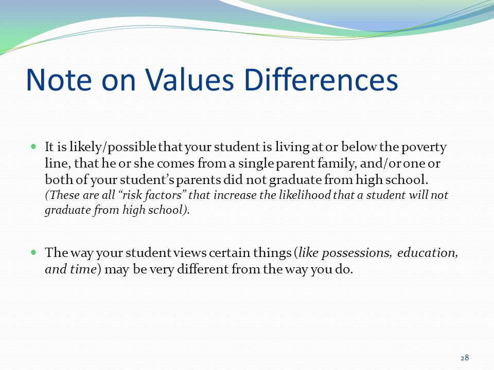 Note on Values Differences It is likely/possible that your student is living at or below the poverty line, that he or she comes from a single parent family, and/or one or both of your student's parents did not graduate from high school.