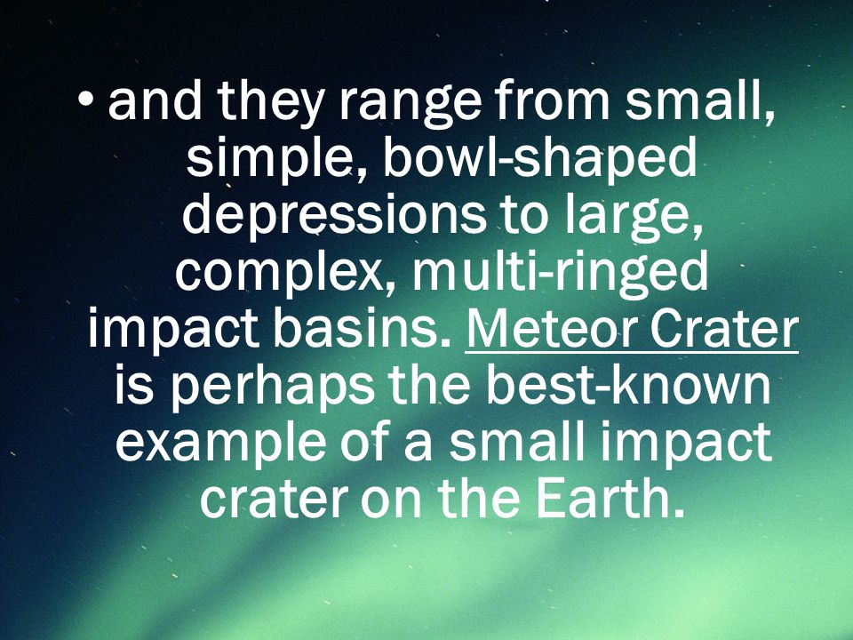  A meteorite impact crater of relatively small diameter, characterized by a uniformly concave-upward shape and a maximum depth in the center, and lacking a central uplift.