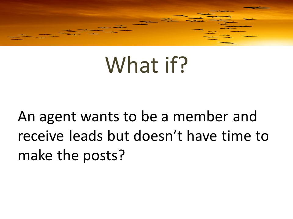 What if An agent wants to be a member and receive leads but doesn't have time to make the posts