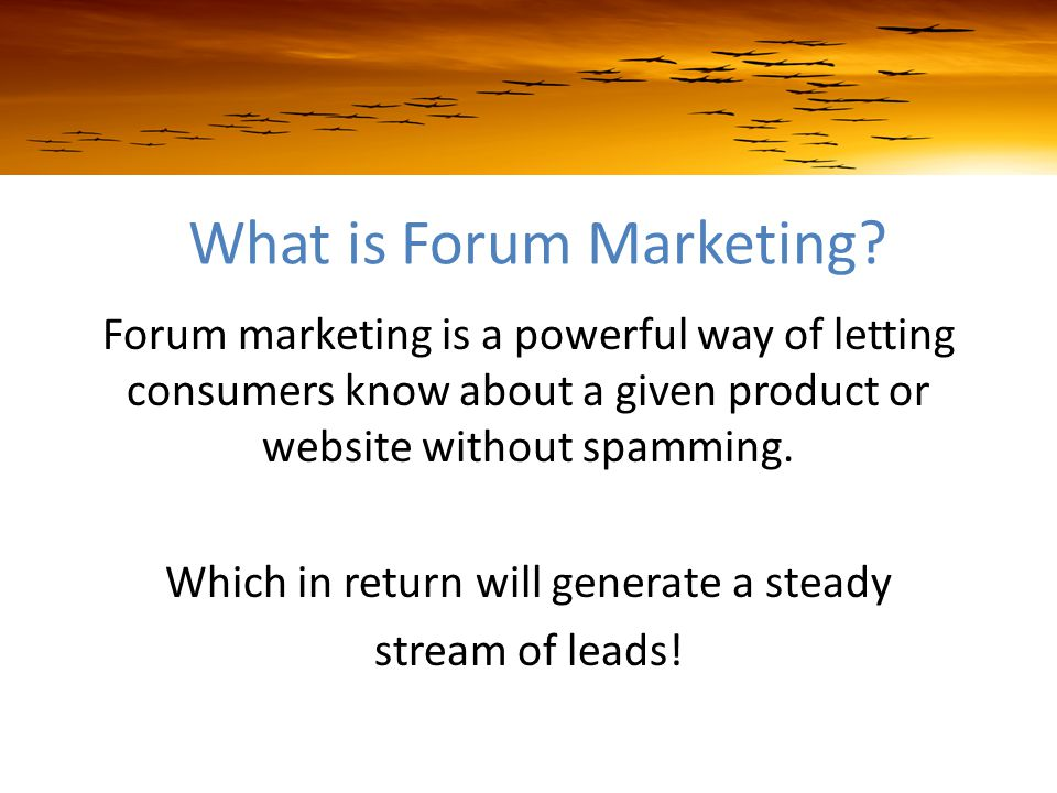 What is Forum Marketing.