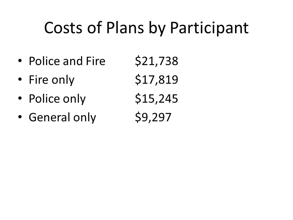 Costs of Plans by Participant Police and Fire$21,738 Fire only$17,819 Police only$15,245 General only$9,297
