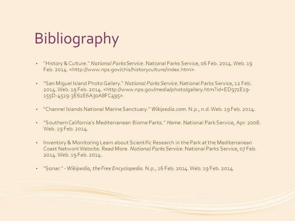 Bibliography History & Culture. National Parks Service.