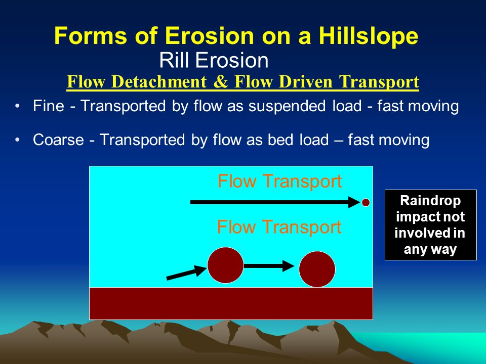 Fine - Transported by flow as suspended load - fast moving Coarse - Transported by flow as bed load – fast moving Rill Erosion Flow Transport Raindrop impact not involved in any way Forms of Erosion on a Hillslope Flow Detachment & Flow Driven Transport